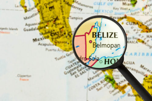 Belize map with magnifying glass