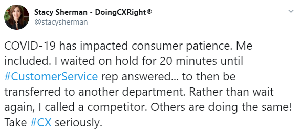 Stacy Sherman's tweet about consumer patience running out.